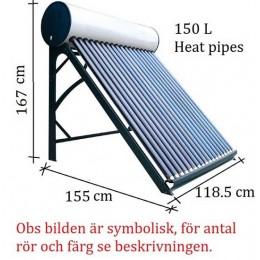 Integrerad solfångare 150 L för sommarstugor och året runt användning